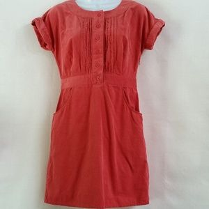 Boden Corduroy Dress Salmon Pockets 4P